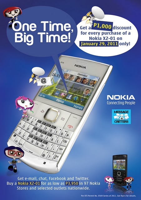 Nokia X2-01 Big Sale on January 29, 2011 Php1,000 off the SRP
