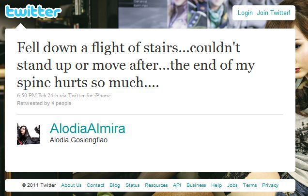 Alodia Falling Down Stairs