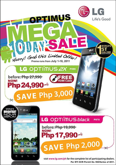 LG Optimus 2X and Optimus Black 10 day Sale