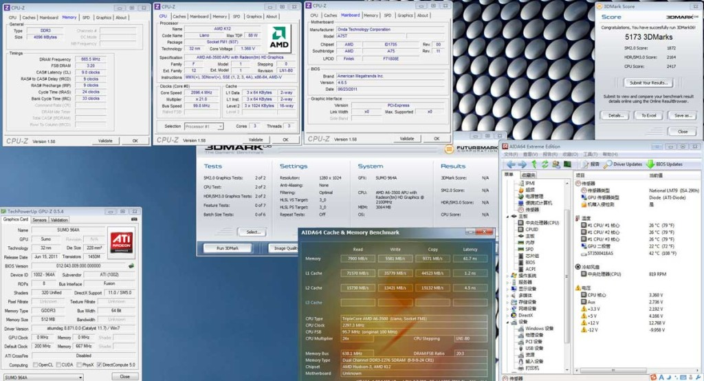 amd a6-3500 triple core APU benchmark