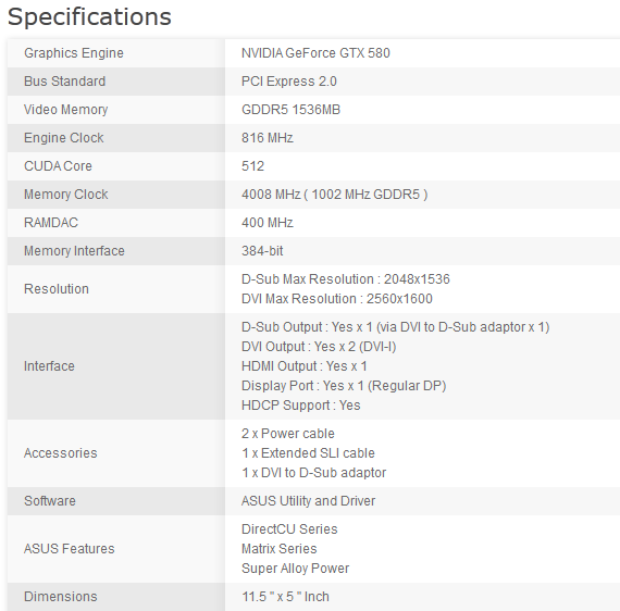 asus matrix gtx 580 platinum specifications