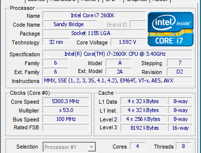 intel core i7 2600k overclock to 5.3GHz CPU-Z Validation