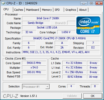 Asus Maximus IV Gene-Z intel core i7 2600k overclock at 5.4GHz cpu-z validation