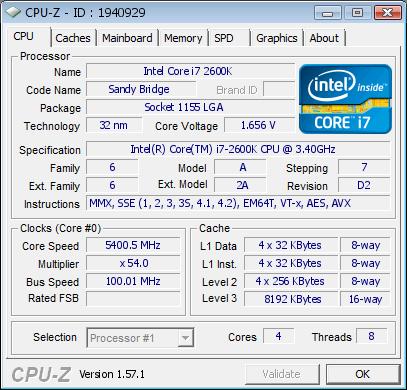 Asus Maximus IV Gene-Z intel core i7 2600k overclock at 5.4GHz cpu-z validation