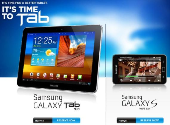 samsung galaxy tab 10.1 and galaxy s wifi 5.0 pre order promo