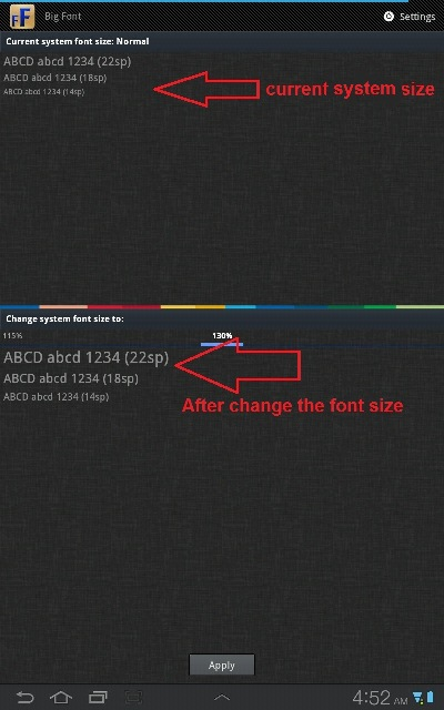 change system font size android app