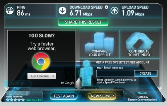globe data plan speed test