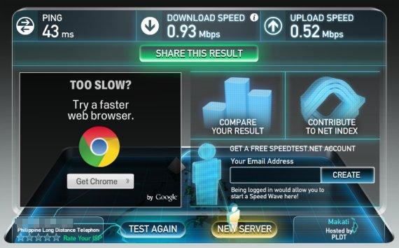 pldt mydsl plan speed test