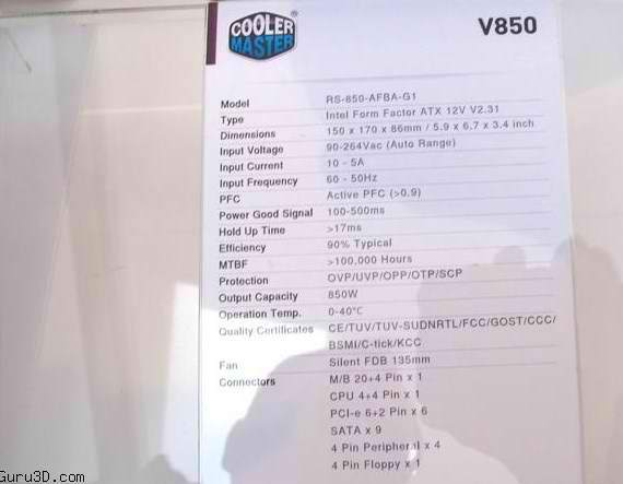 cm v850 specifications