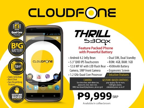 cloudfone thrill 530qx specs price