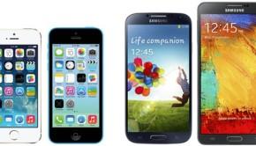 iphone 5s vs iphone 5c vs samsung galaxy s4 vs samsung galaxy note 3