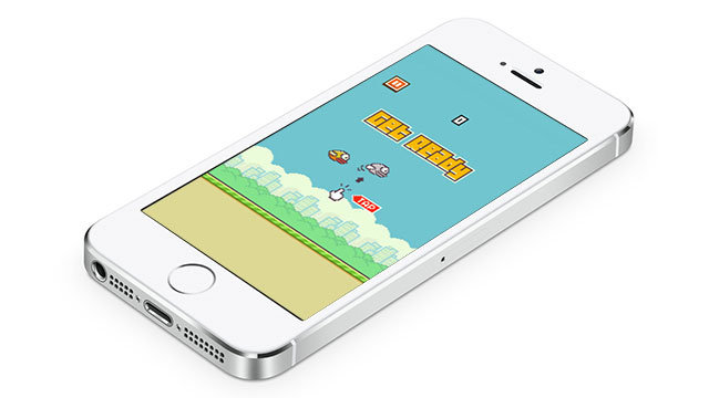 apple iphone 5s with flappy bird